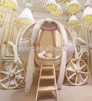 Royal Crown Cinderella Pumpkin Coach Bed Luxury Princess Carriage