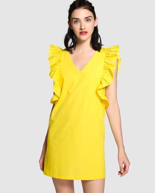 Vestido corto de popelín en color amarillo. Sin mangas ecb4eb829509
