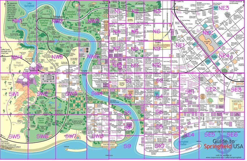 Springfield Map The Simpsons Tapped Out Topix Escuela De Magia Mapa Ciudad Mapa De Hogwarts