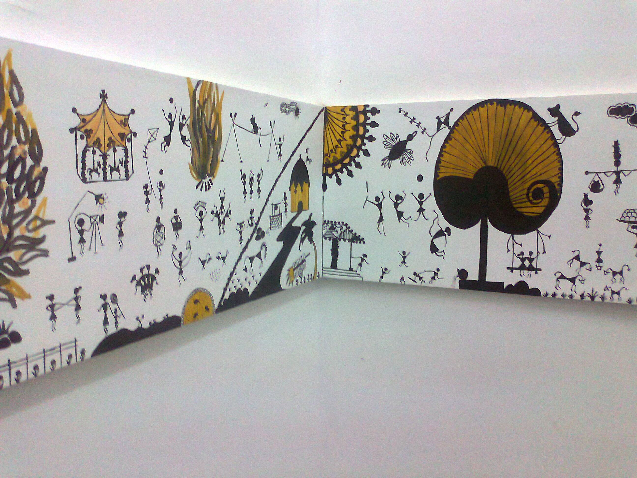 modern Warli wall design   Graphic - Warli   Pinterest