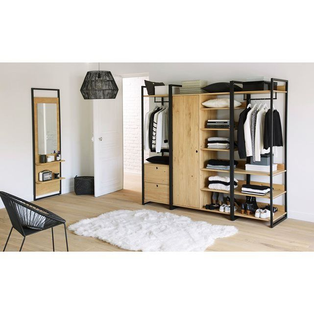 module armoire 1 porte penderie 6 tag res hiba barre de penderie tag res ouvertes et le. Black Bedroom Furniture Sets. Home Design Ideas