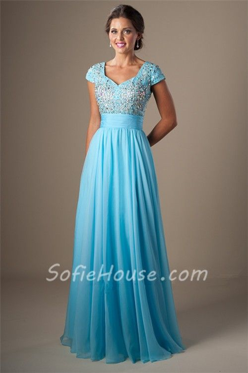 modest a line cap sleeve light green chiffon beaded long prom
