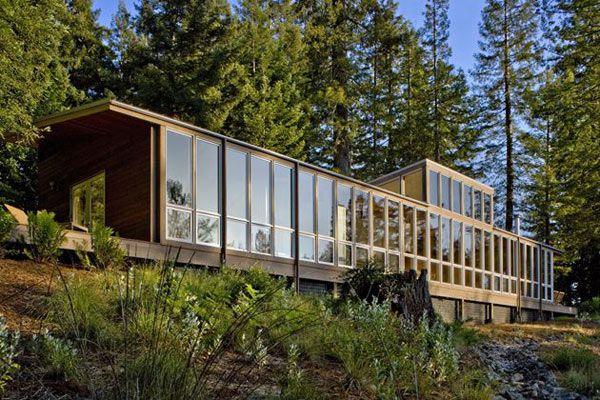 Moderne holzhäuser architektur  moderne Architektur Landhaus Kaliforniern Glasfassade ...