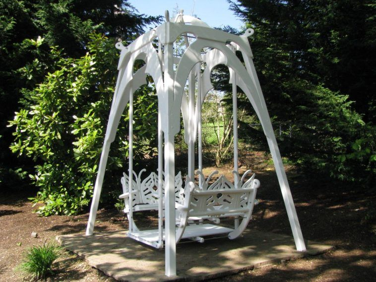 White Metal Double Garden Glider Swing With Butterfly Shape Back