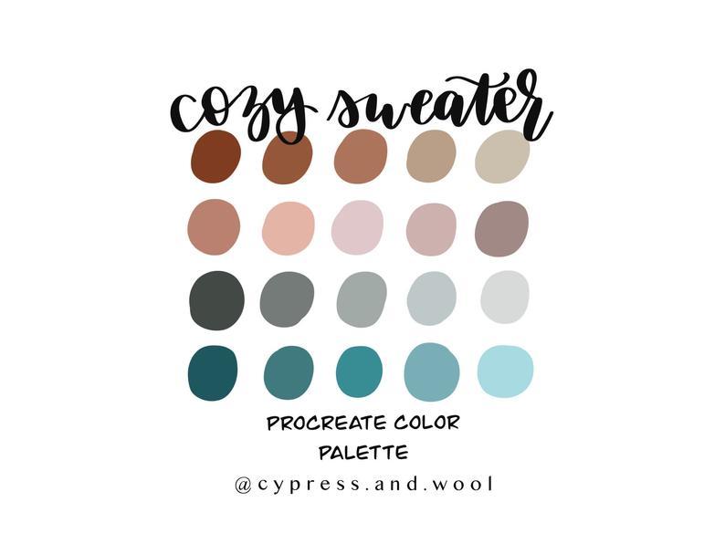 Cozy Sweater Procreate Color Palette Procreate Palette Procreate Swatches Movie Color Palette Color Palette Color