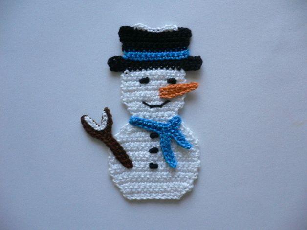 Häkelapplikationen Schneemann Häkelapplikation Hooky Crochet