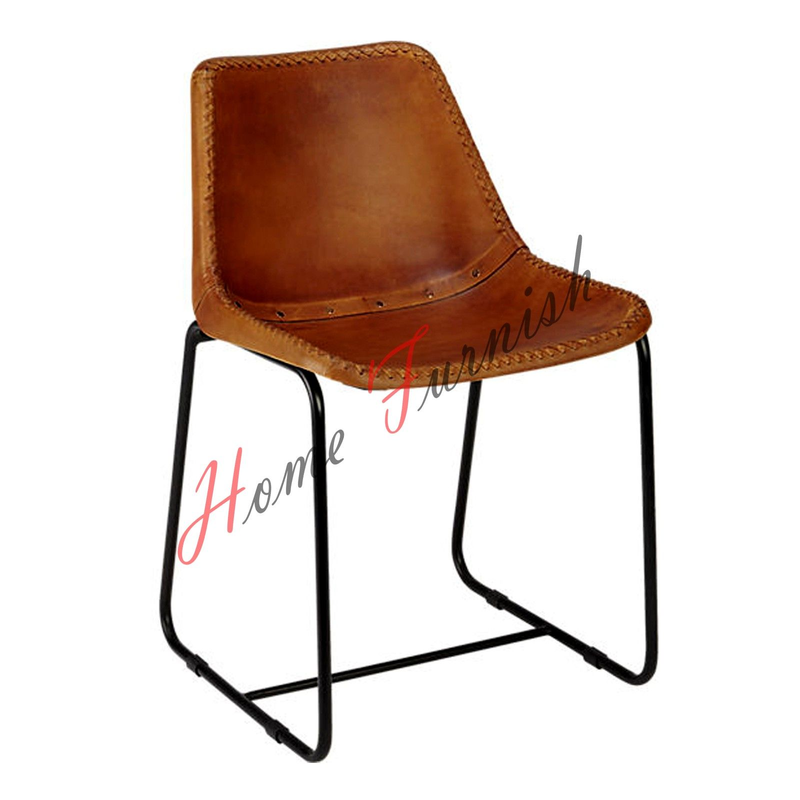 Vintage Industrial Style Dining Chair Leather Brown Chair Metal