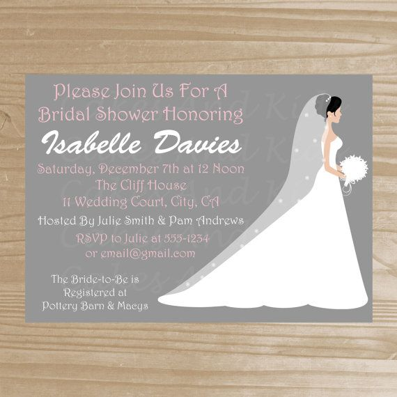 bridal shower invitation grey and pink by cakesandkidsdesigns