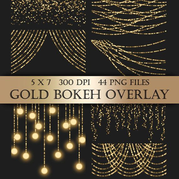 String Lights Clipart Inspiration Gold Bokeh String Lights Digital Clipart Overlay  Gold Bunting Review