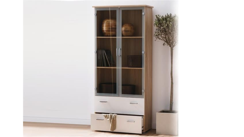 Vitrine Swift Schrank In Sonoma Eiche Dekor Weiss 2 Glasturen Home