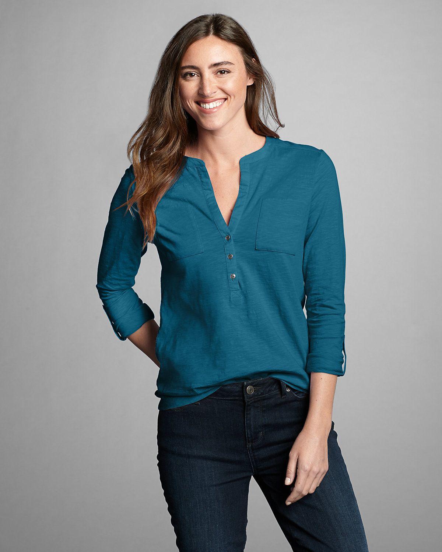Women's Essential Slub Popover Shirt Eddie Bauer Women