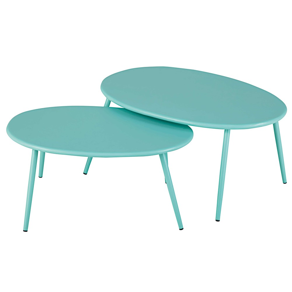 Tables gigognes de jardin en métal turquoise   Products   Tavoli ...