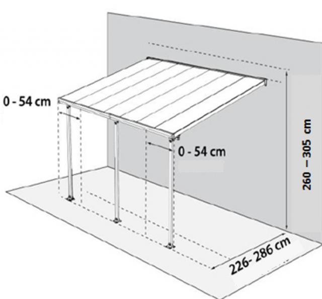 fabriquer une pergola murale - schéma et dimensions