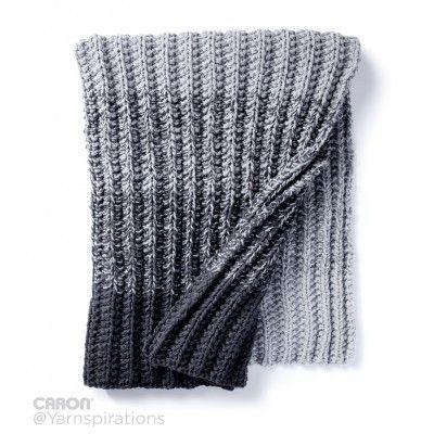 Free Easy Knit Blanket Pattern | Caron Ombre Ridge Knit Blanket ...