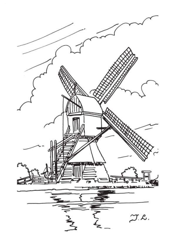 print windmolens kleurplaat pergamanopatronen cool