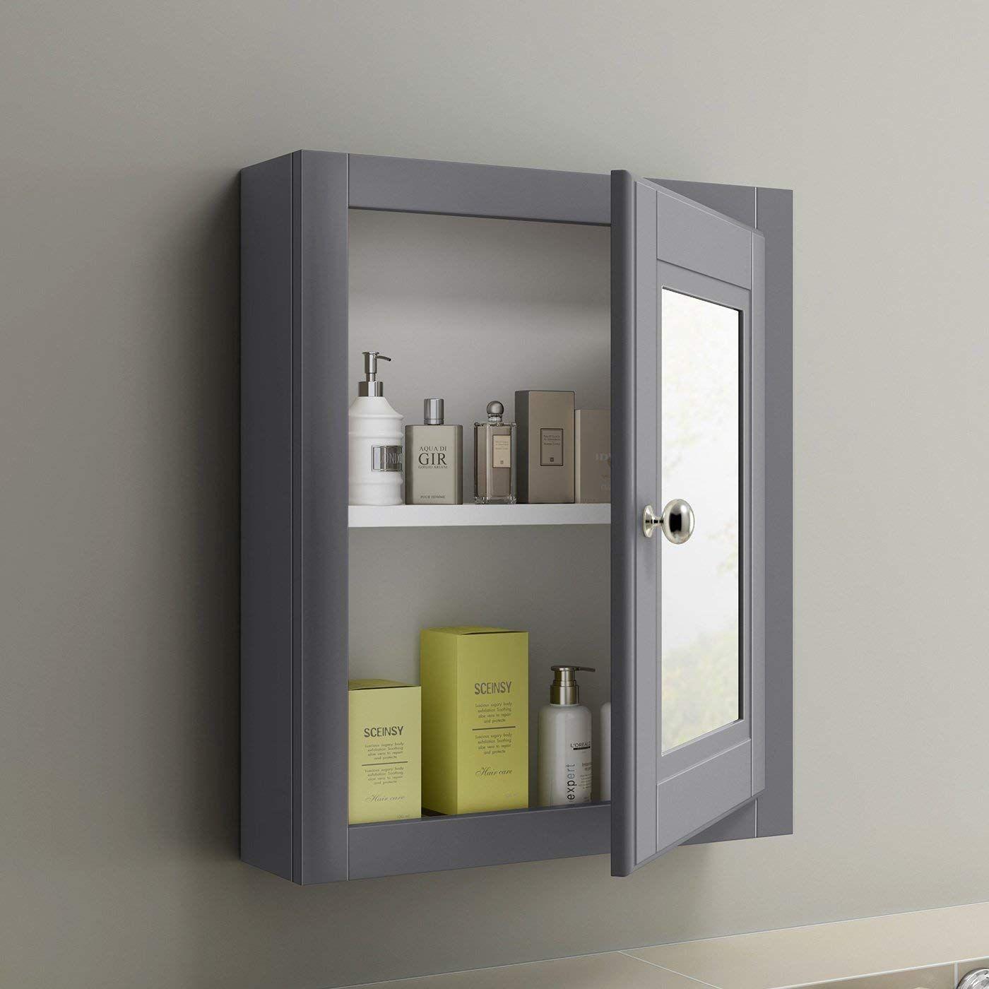 600 X 500 Traditional Grey Wall Hung Single Door Bathroom Mirror
