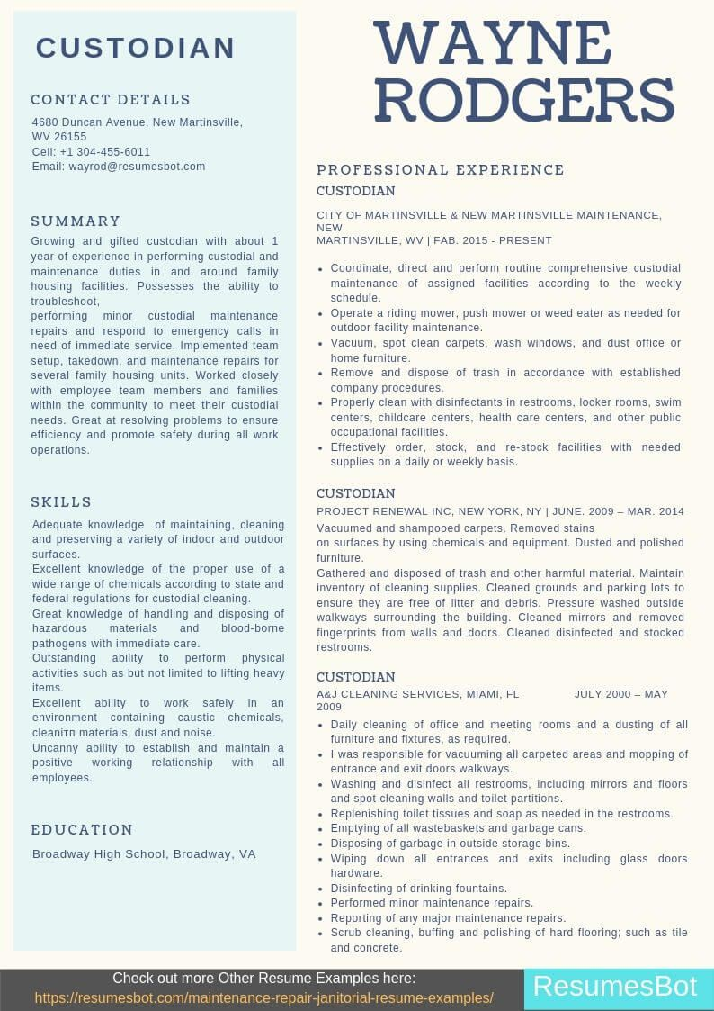 Custodian resume samples templates pdfdoc 2019