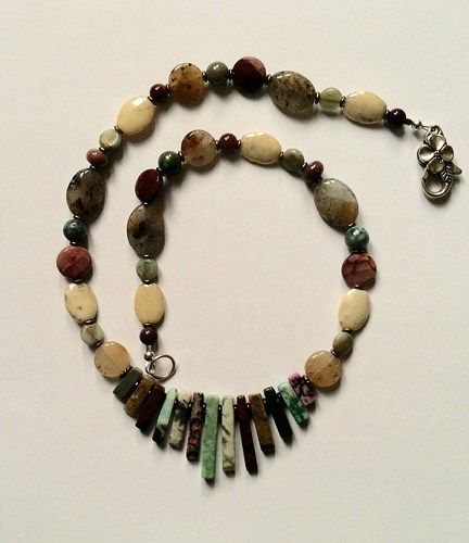 Maggies Beadery Womens MultiColored Beaded Necklace With Quartz and Jasper.