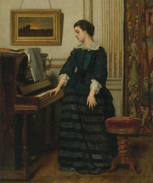 Lady At The Piano Alfred Stevens Portret Vrouw Piano