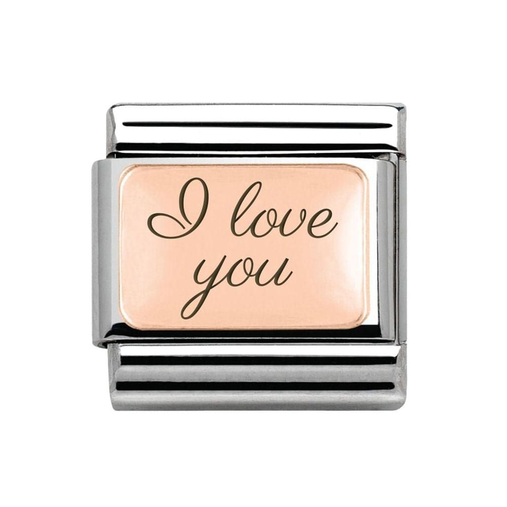 "Nomination 9ct Rose Gold Plate Classic Charm engraved with ""I love you"""