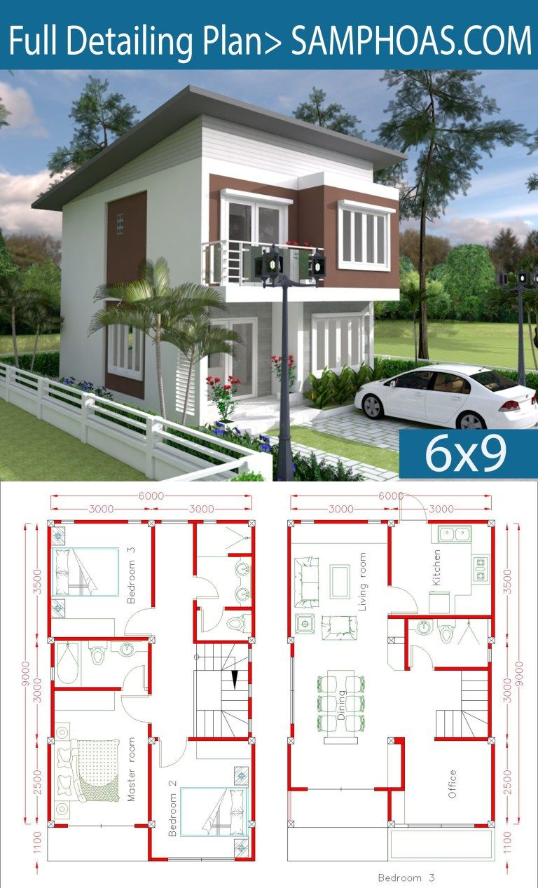 Simple Home Design Plan 9x9m with 9 Bedrooms - SamPhoas Plan