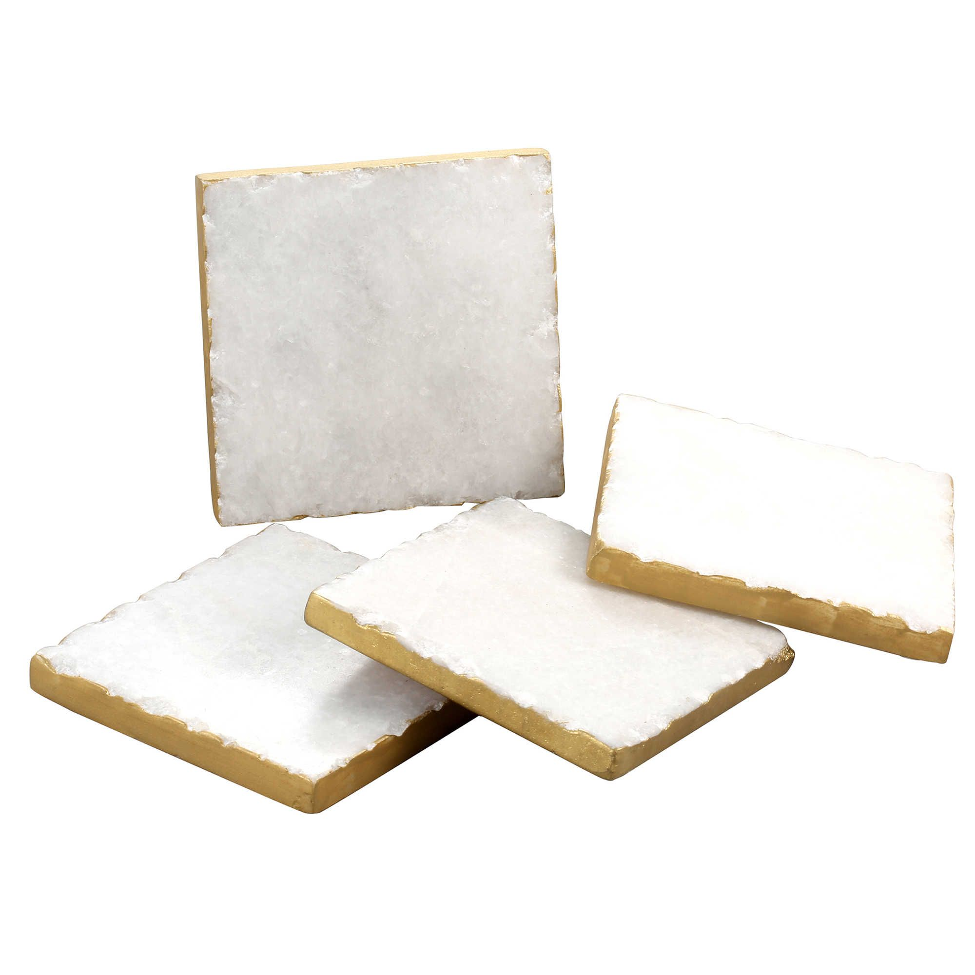 White And Gold Coasters Thirstystone Gold Edge Marble Coasters In White Set Of 4