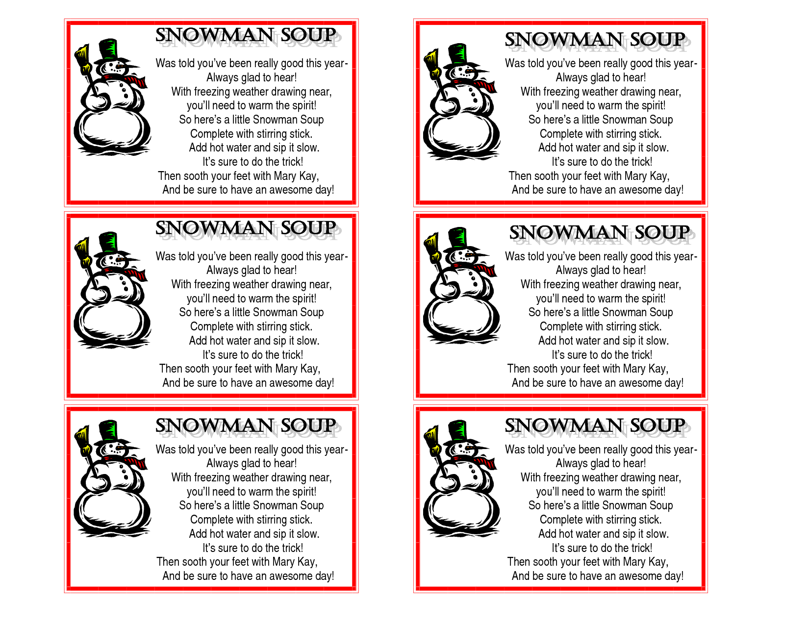 This is a picture of Snowman Soup Printable with pink