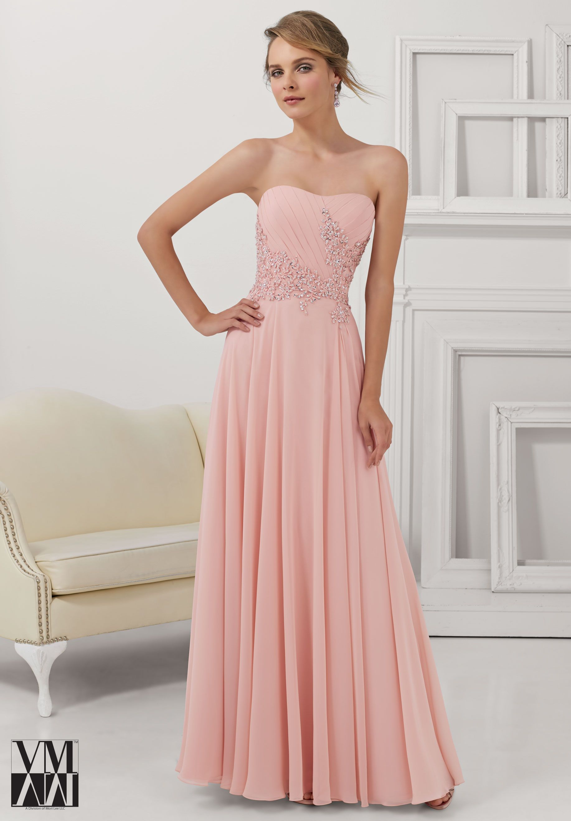 Chiffon with embroidered and beaded appliqués evening gown gowns
