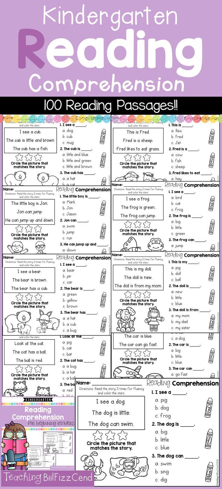 Kindergarten Reading Comprehension for Beginning Readers (Multiple ...
