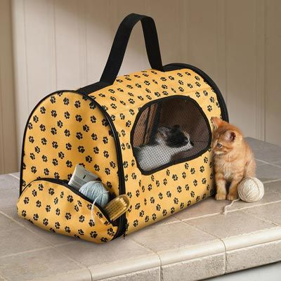 Paw Print Pattern Cushioned Fabric Pet Carrier Rawrr