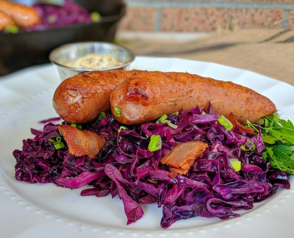 Octoberfest German Red Cabbage w/ Bratwurst and Horseradish Mustard Aioli - Culinary Lion #octoberfestfood Octoberfest German Red Cabbage w/ Bratwurst and Horseradish Mustard Aioli - Culinary Lion #octoberfestfood