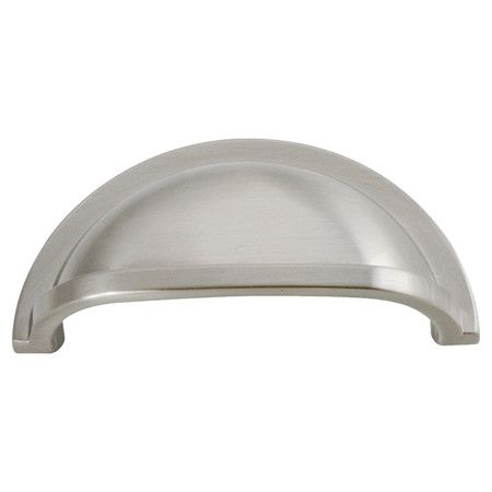 elegantly adorn your kitchen cabinets with this chic cabinet pull showcasing a satin nickel finish