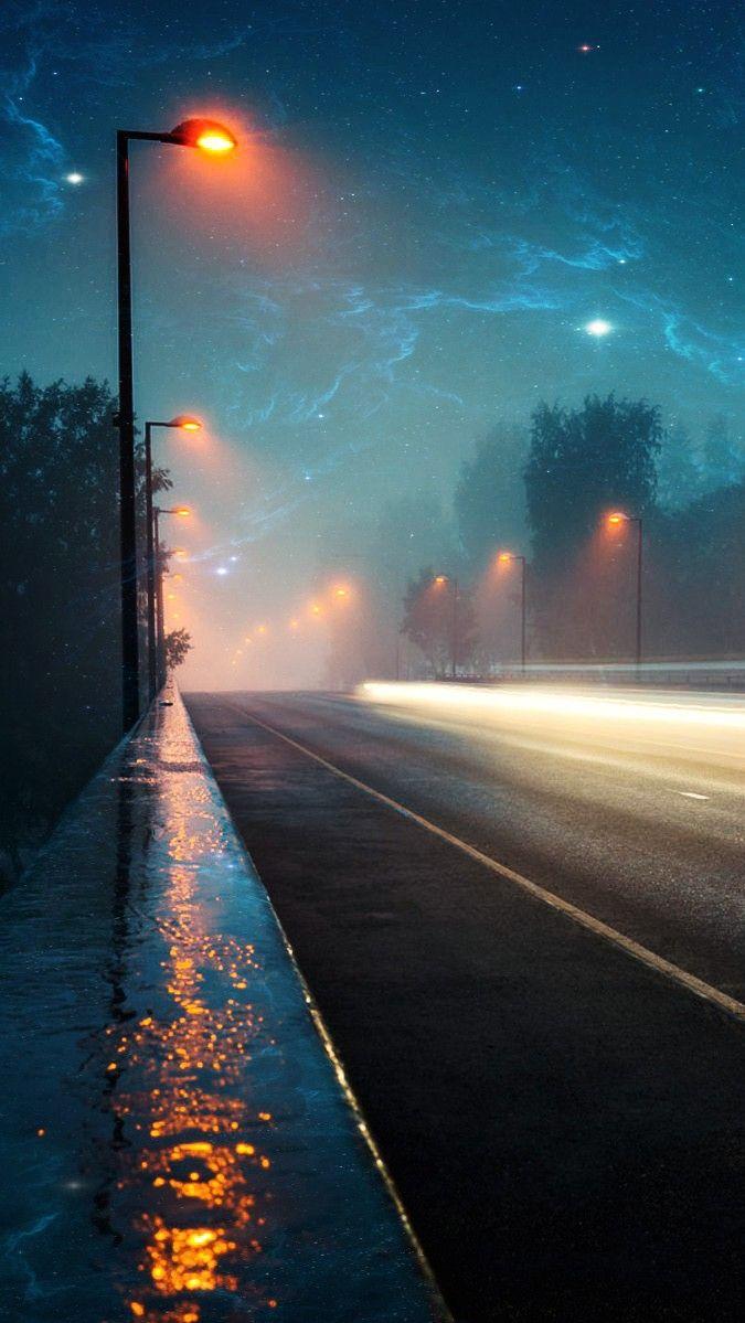 Midnight Highway Artistic Iphone Wallpaper