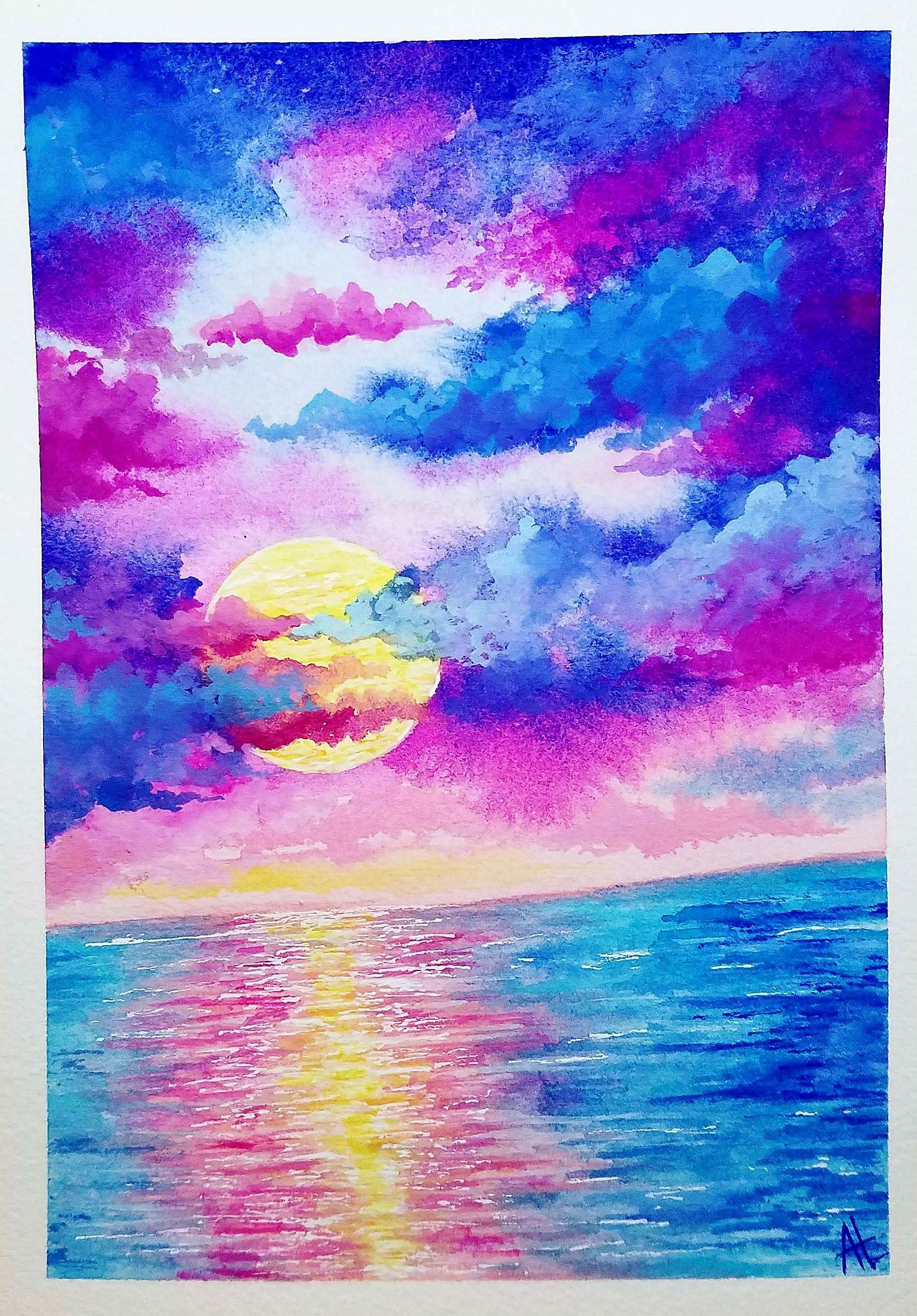 Tilted Sunset Watercolor 4x6 Watercolor Paintings For