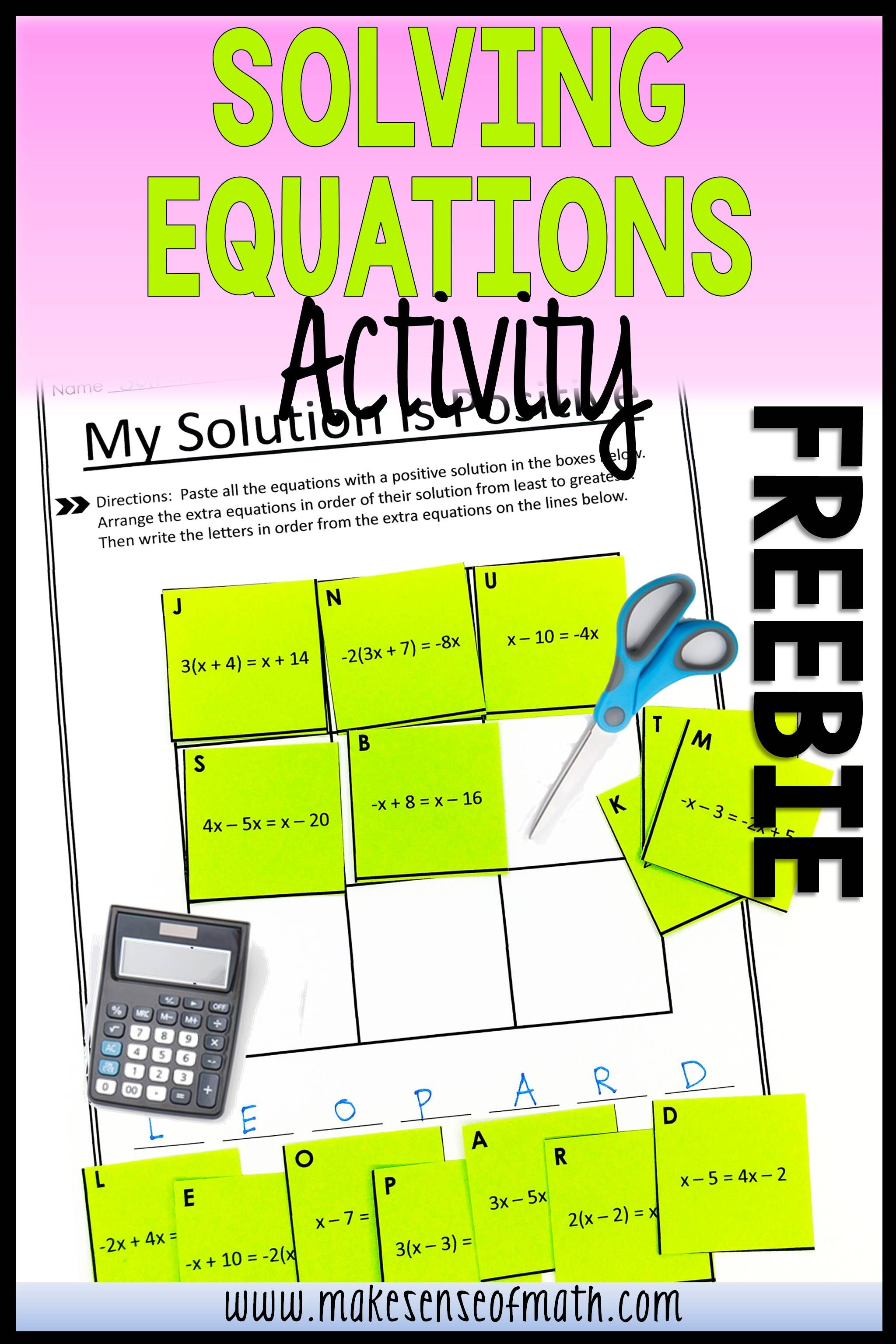 Solving Equations With Variables On Both Sides Puzzle Free