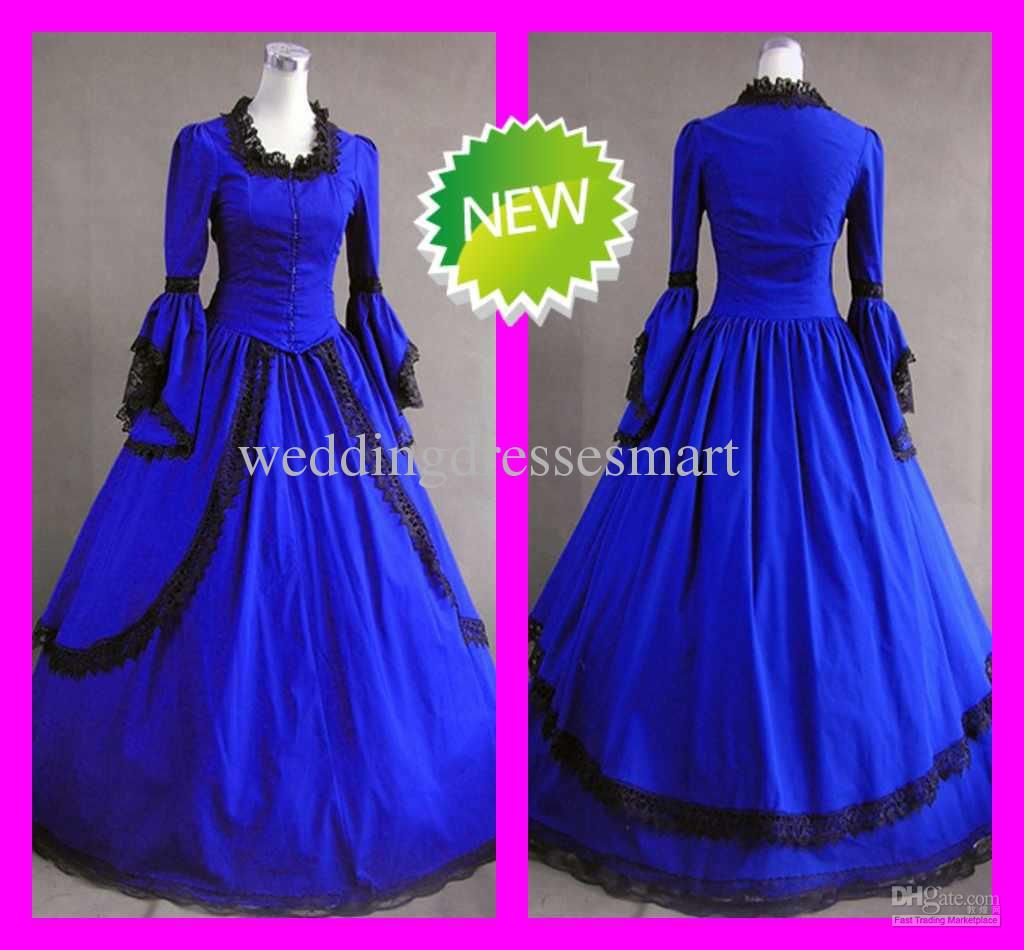 Wholesale Long Sleeved Black Lace Royal Blue Vintage Gothic Victorian Wedding Dresses Custom Lolita Cosplay Free Shipping 1052813999piece Dhgate: Blue Victorian Wedding Dresses At Websimilar.org