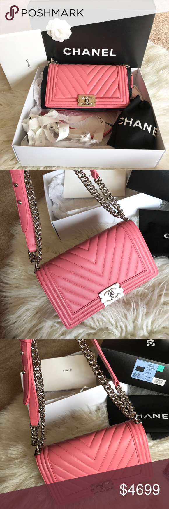 810b70f40932 Authentic Chanel Boy Old Medium Pink Chevron 💗💖UNICORN FOR SALE!!!💓