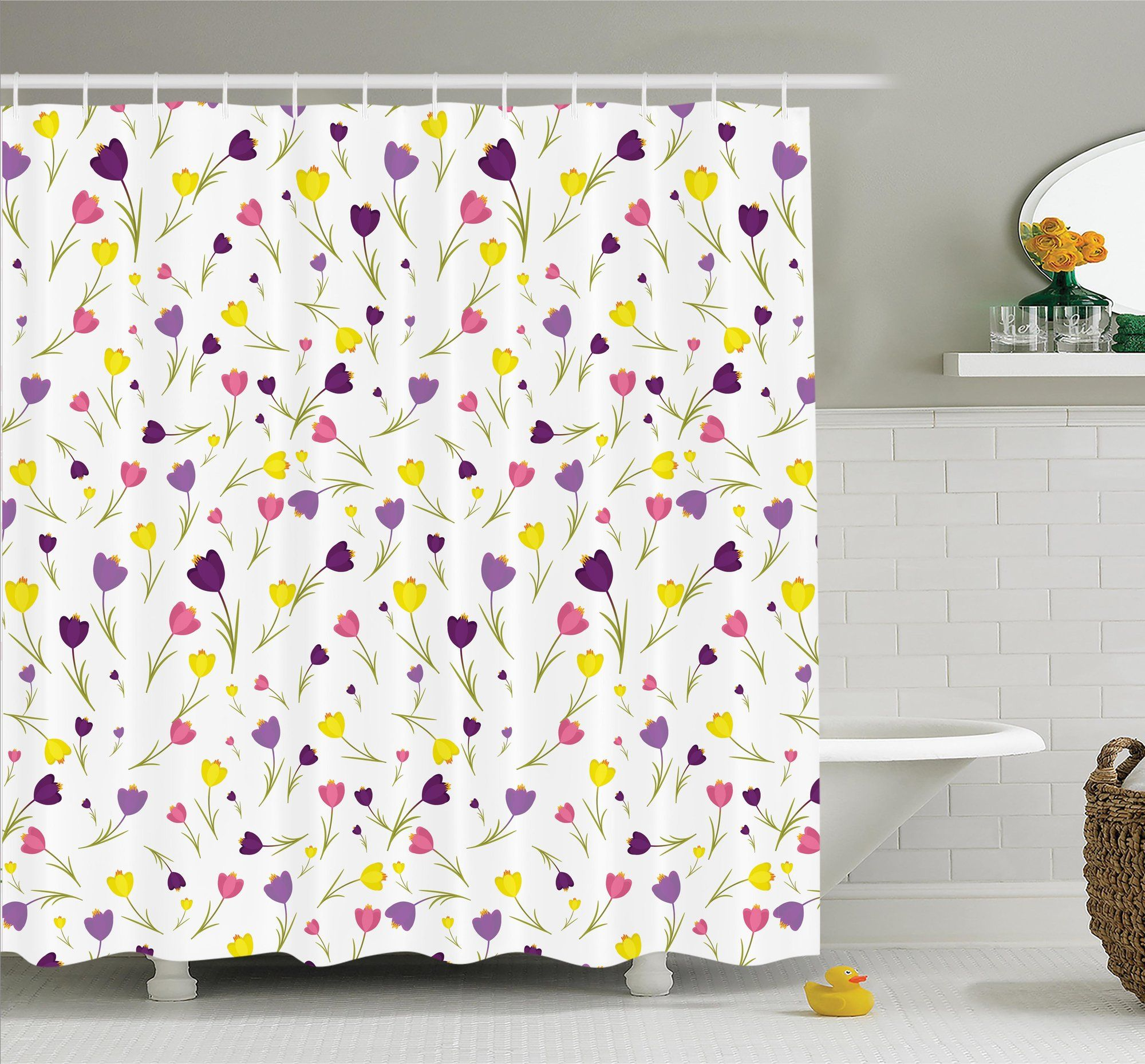 Floral Tulips Spring Romantic Shower Curtain Set Shower Curtain