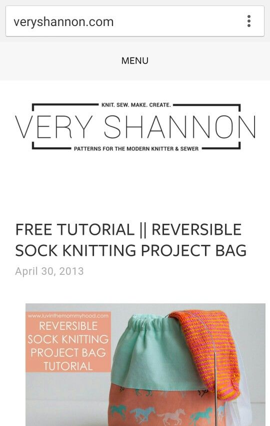 Free Sewing Pattern Reversible Sock Knitting Bag Sewing