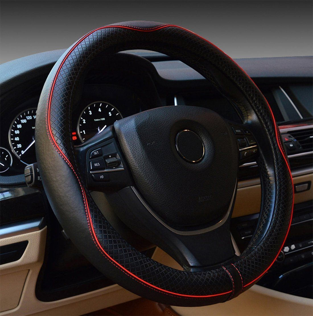Genuine Leather Car Steering Wheel Cover Black/&Blue Breathable Anti-slip Stearing Wheel Cover Protector Universal 15 inch//38CM Fits for Auto//Truck//SUV//Van