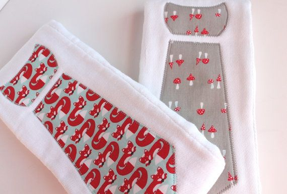 Baby Burp Cloths with Necktie in Red Foxes and by LeytonSmiles