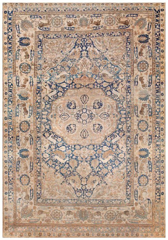 Antique Mohtashem Kashan Persian Rug 44891 Antique