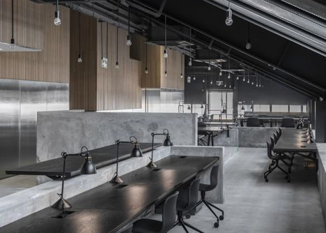 Flamingo Shanghai Offices By Neri Hu Contain Meeting Rooms In Pitched Roof Pods Industrial Interiors Office Design Office Interiors