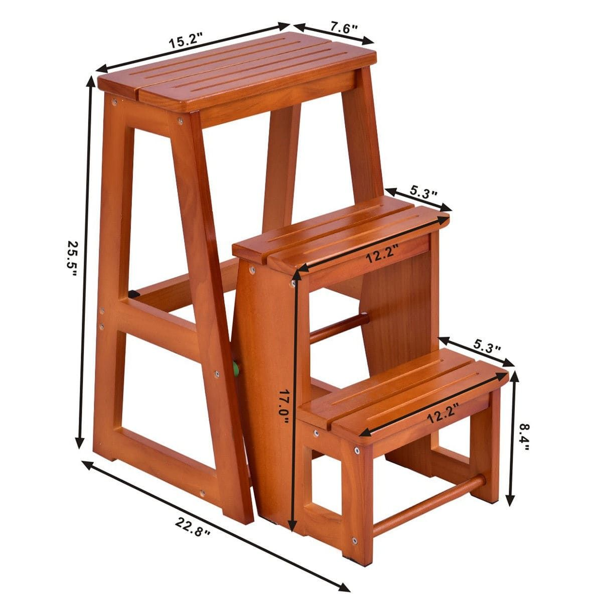 Amazing Wood Step Stool Folding 3 Tier Ladder Chair Bench Seat Alphanode Cool Chair Designs And Ideas Alphanodeonline