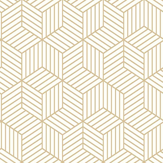 Peel And Stick Wallpaper Hexagon 17 7inch X 78 7inch White Golden Striped Geometric Hexagon Wall C Peel And Stick Wallpaper Peelable Wallpaper Vinyl Wallpaper