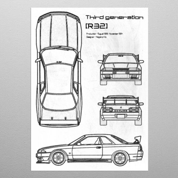 Nissan R32 by FARKI15 DESIGN | metal posters - Displate | Displate thumbnail