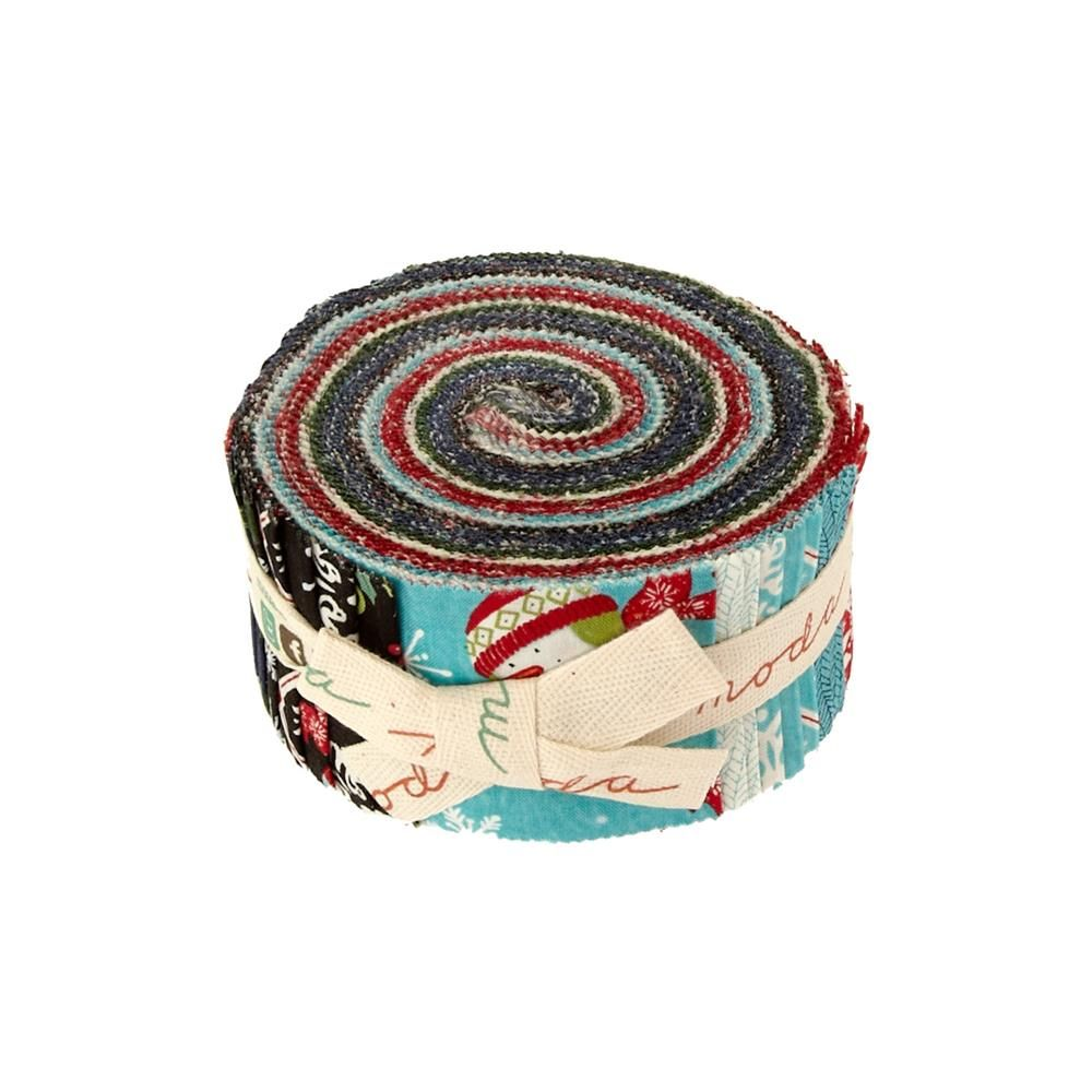 Moda Be Jolly Jelly Roll from @fabricdotcom  Designed by Deb Strain for Moda, this assortment includes 40 - 2.5'' x 44'' strips from the Be Jolly collection.  Color palette includes white, red, green, blue, black and brown.  Use for quilting and craft projects.