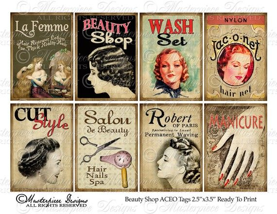 Beauty Shop Hair Salon Atc Aceo Hang Tags Download And Print Digital Sheet In 2020 Vintage Hair Salons Vintage Beauty Salon Vintage Salon