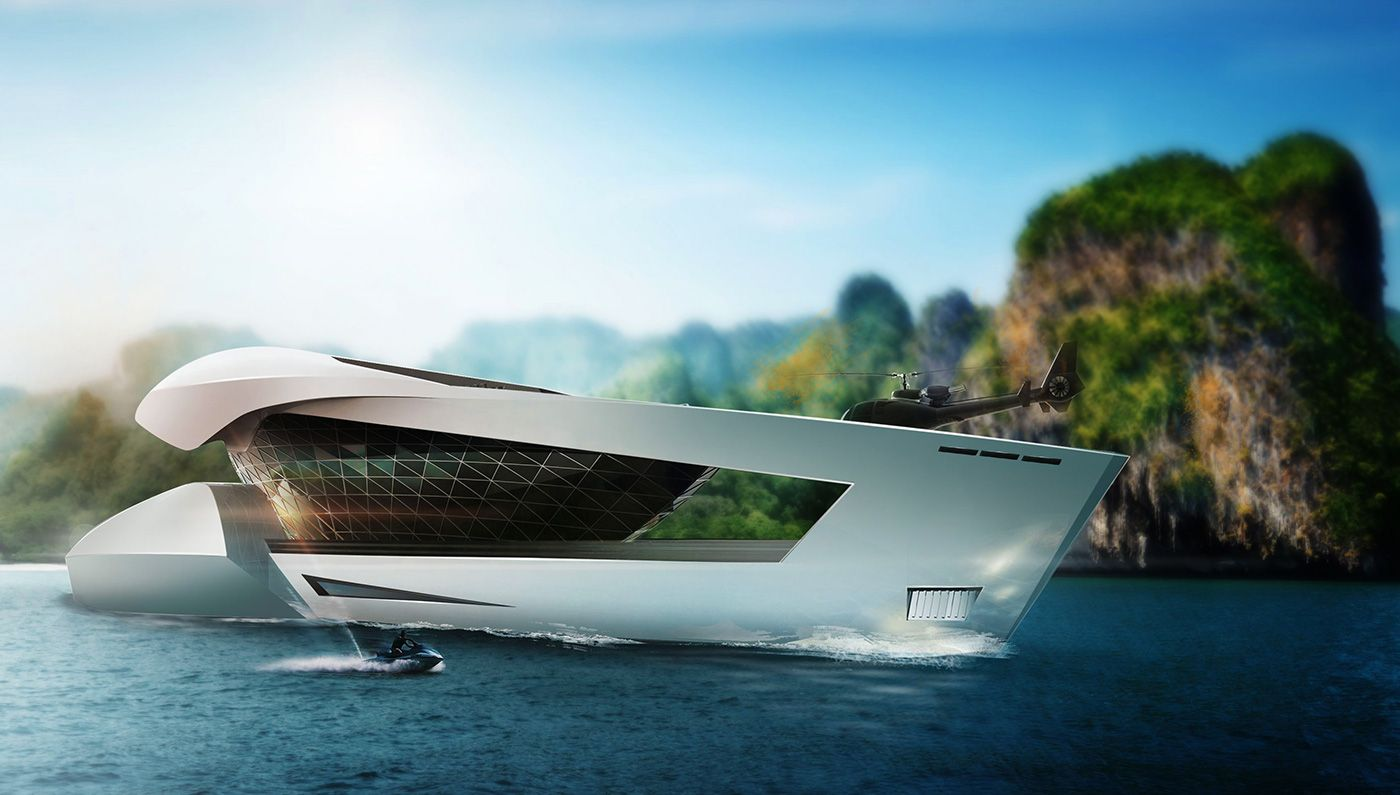 This Futuristic Superyacht Features A 1 000 Square Foot Supercar Garage Yacht Design Luxury Yachts Yacht