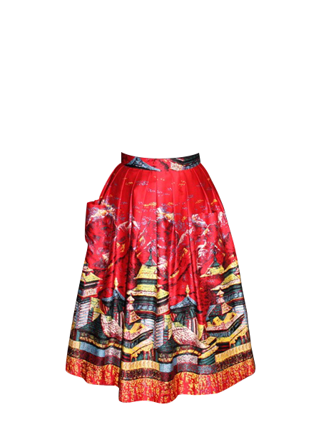 ca95cf1cc33 50 s Pleated Skirt Oriental Tea House Red - Retrospecd - Retrospecd ...